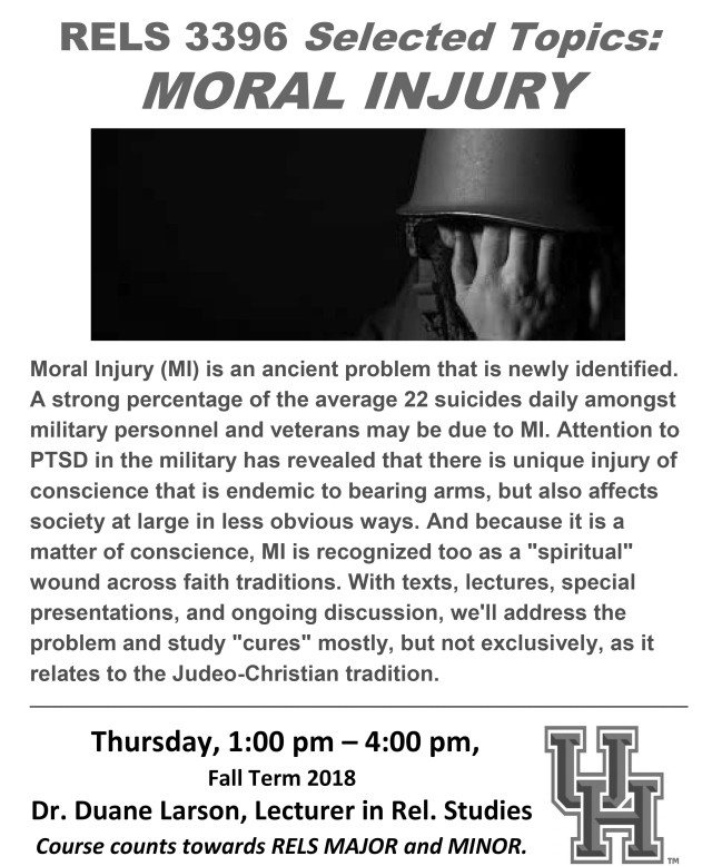 RELS 3396 Flyer, Larson-Moral Injury, Spring 2018